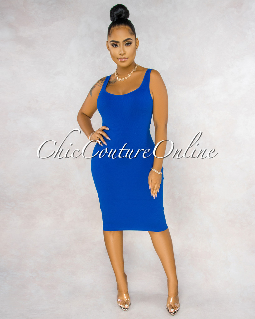 Rickie Royal Blue Ribbed Tank Midi Dress