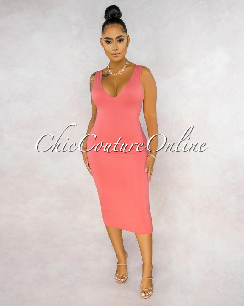 Crystal Coral Slip Midi Dress