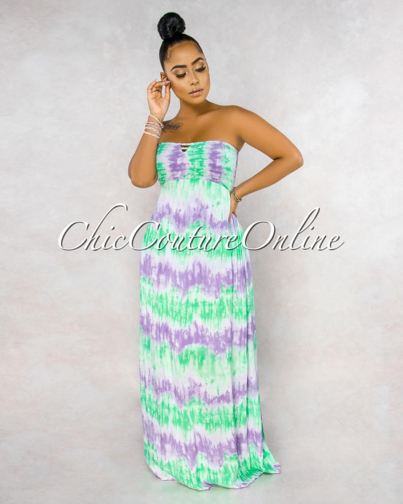 Kaylee Lavender Green Tie-Dye Smocked Strappy Back Ruffle Dress