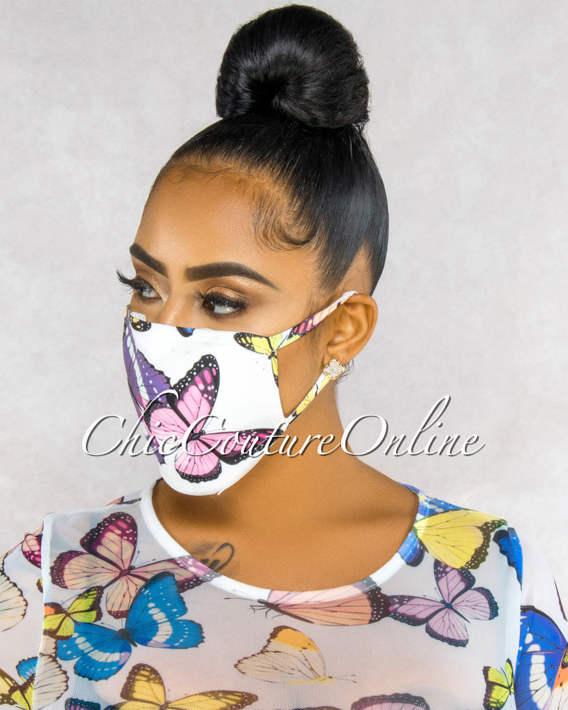 Eunice White Butterfly Print Fashion Mask