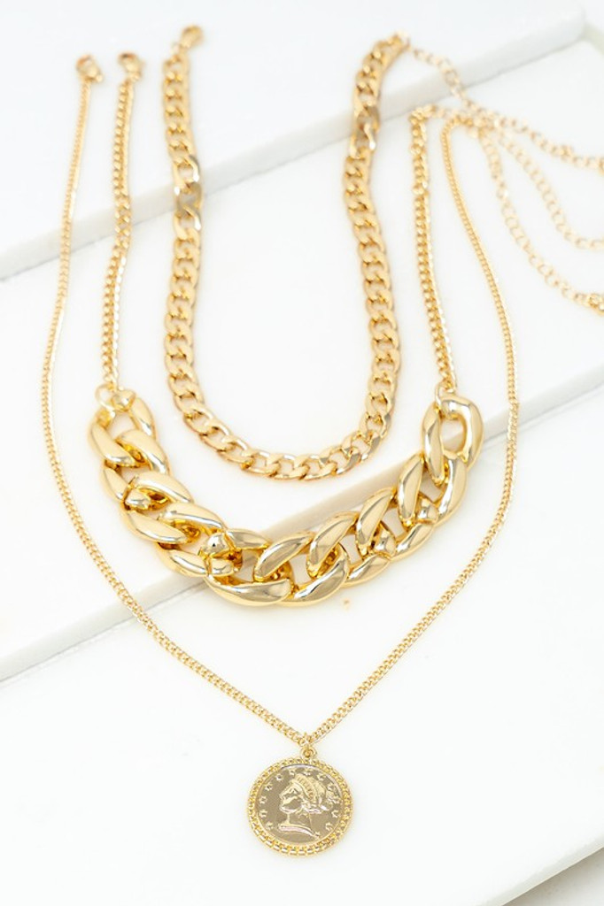 Karry Gold Three Strand Chunky Chain with Coin Charm Necklace