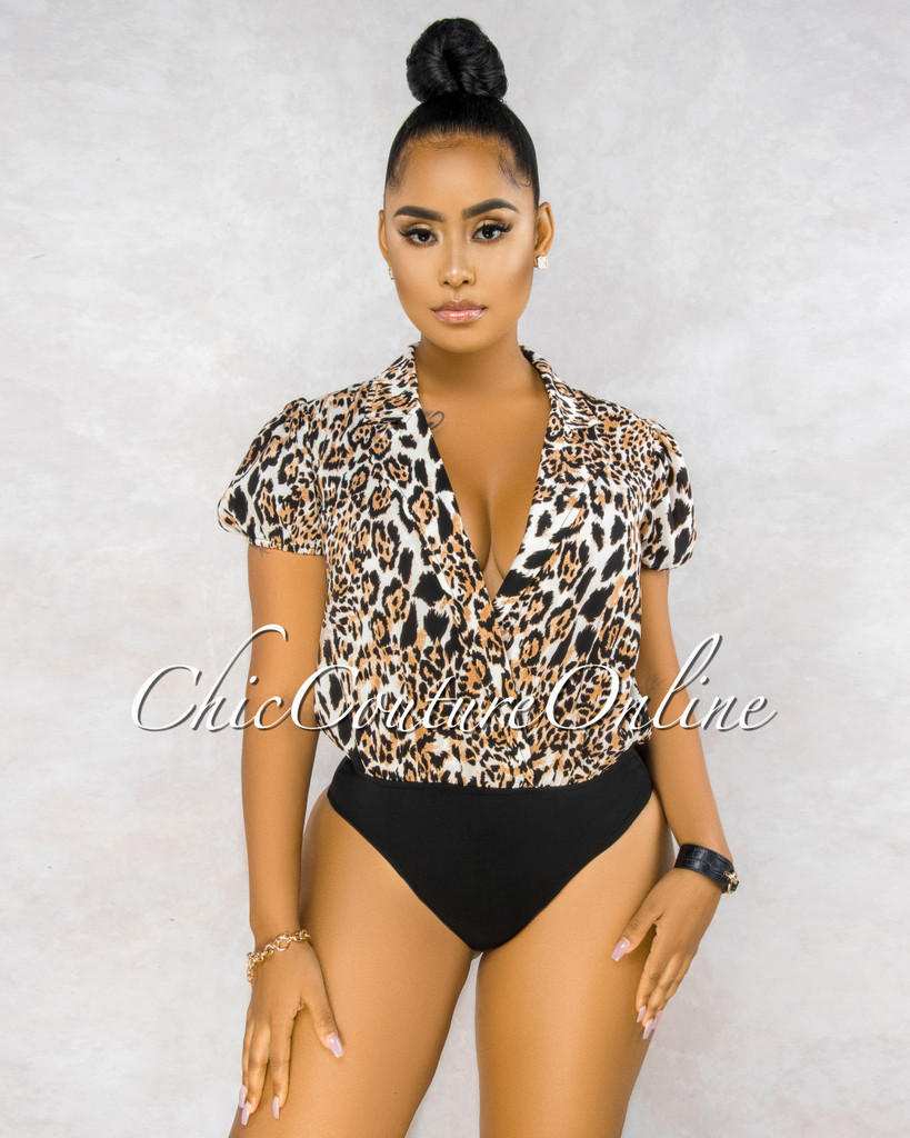 Dannaly Leopard Print Trench Bodysuit