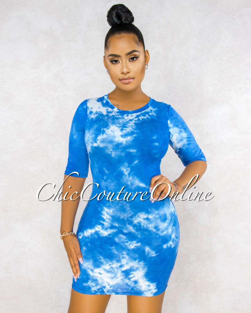 Glynette Royal Blue White Tie-Dye Body-Con Dress