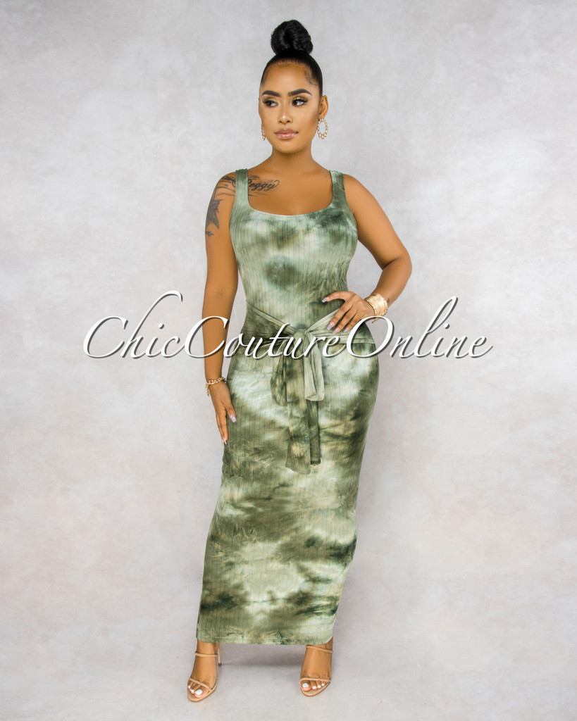 Sheron Olive Green Tie-Dye Ribbed Front Tie Maxi Dress