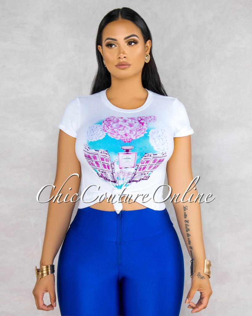 Parfum Off-White Pink Blue Graphic T-Shirt
