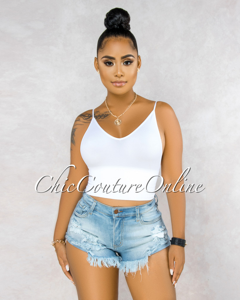 Dominika Blue Light Denim Distressed Cut-Off Shorts