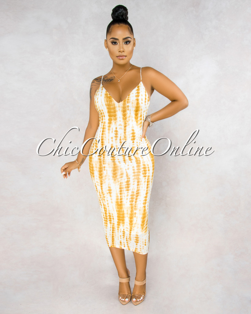 Fierra White Yellow Tie-Dye Lace-Up Back Midi Dress