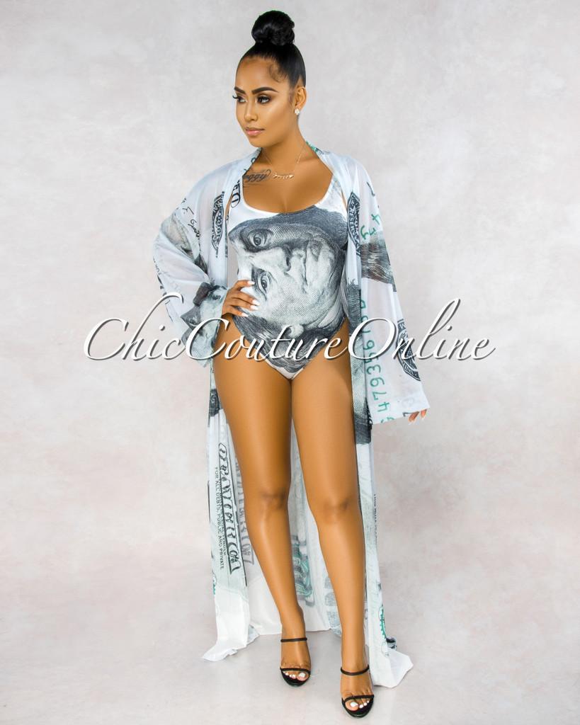 Money Off-White Print Swimsuit Two Piece Set