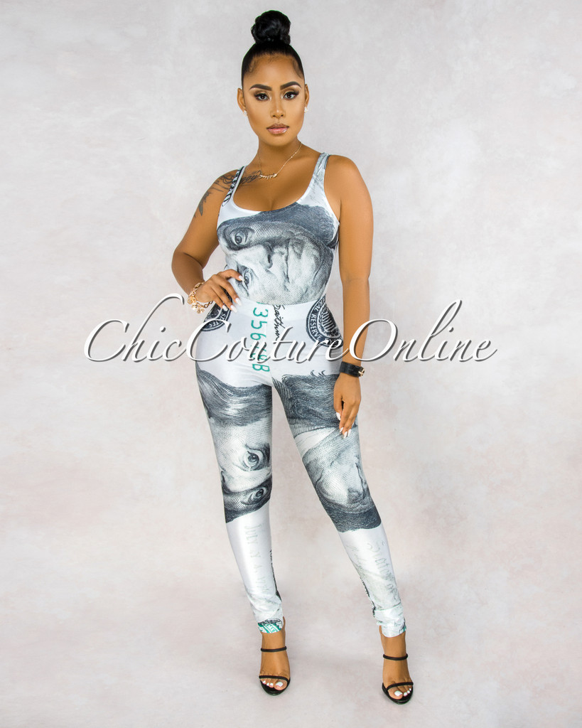 Cash Off-White Green Money Print Leggings