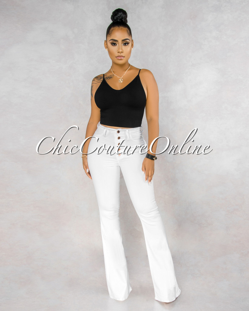 Tara White Rose Gold Button Up High Waist Bell Legs Jeans