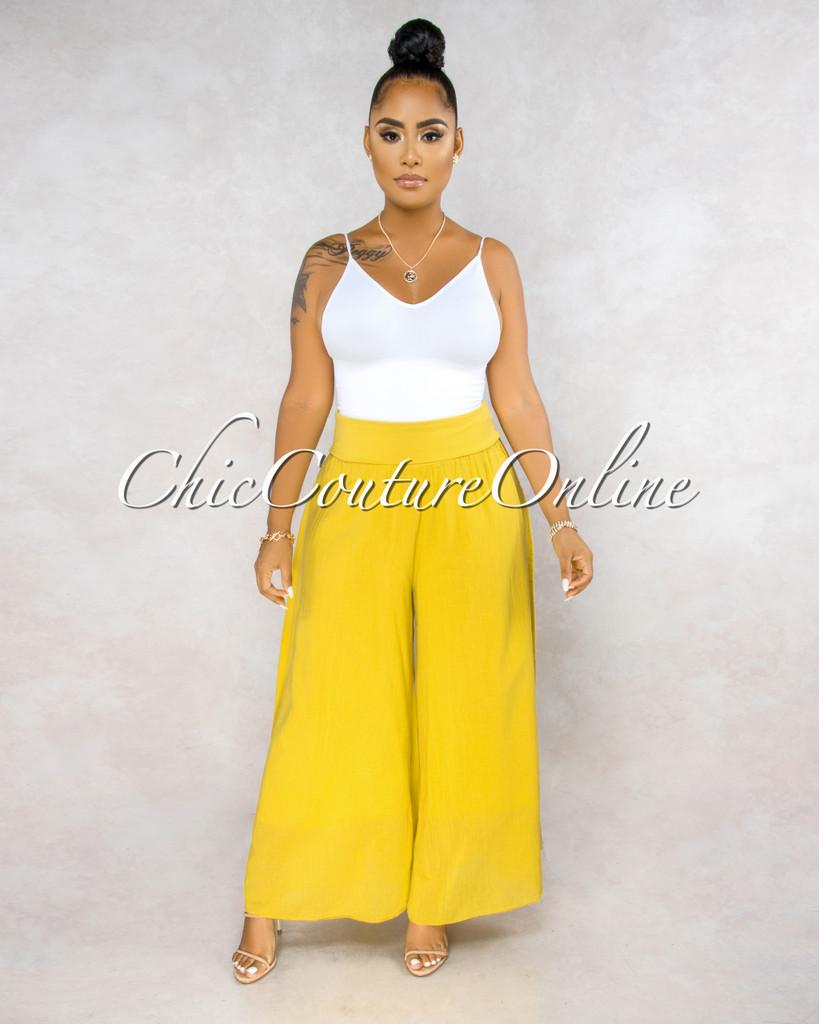 Molino Yellow Wide Legs Waistband Pants