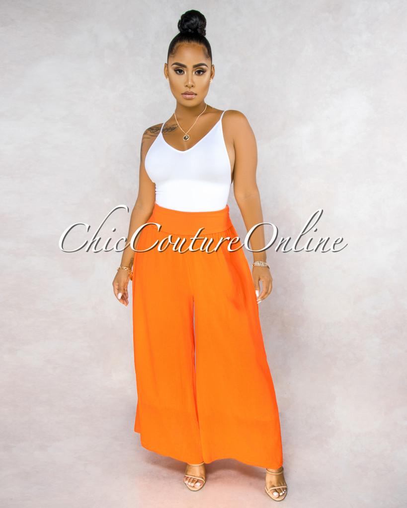 Molino Orange Wide Legs Waistband Pants