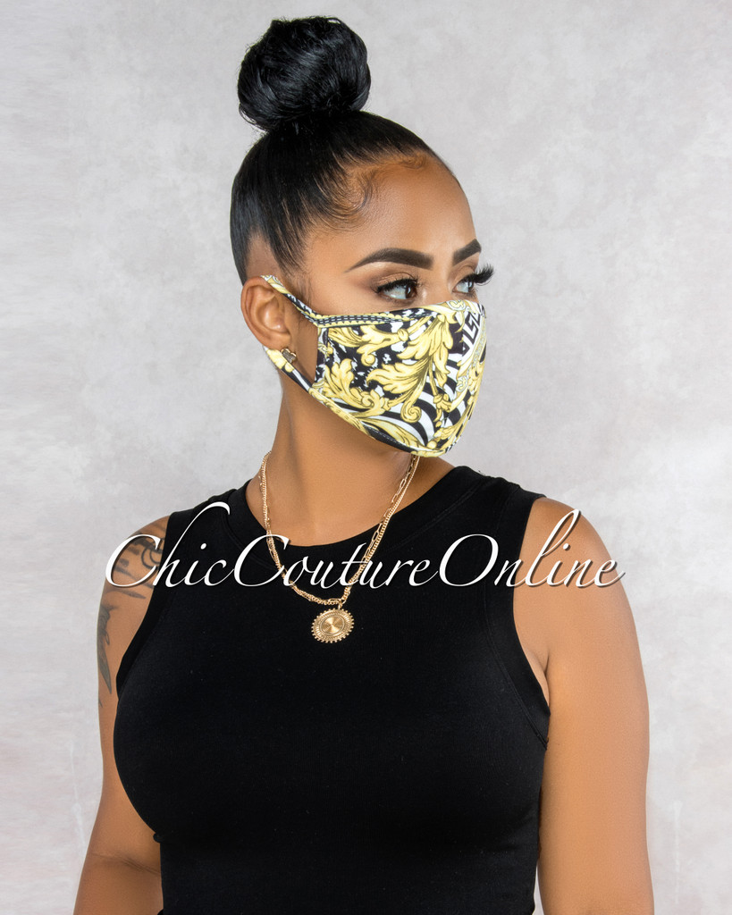 Christa Black White Gold Chain Print Fashion Mask