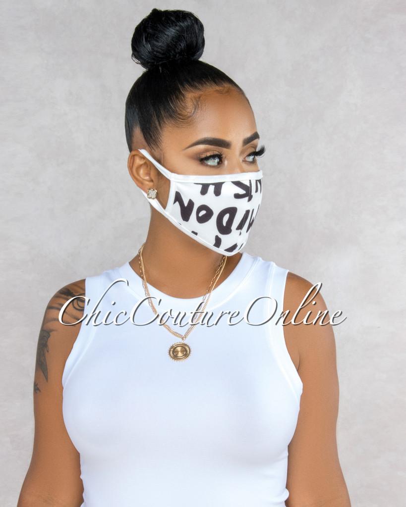 Shonda White Black Letters Fashion Mask