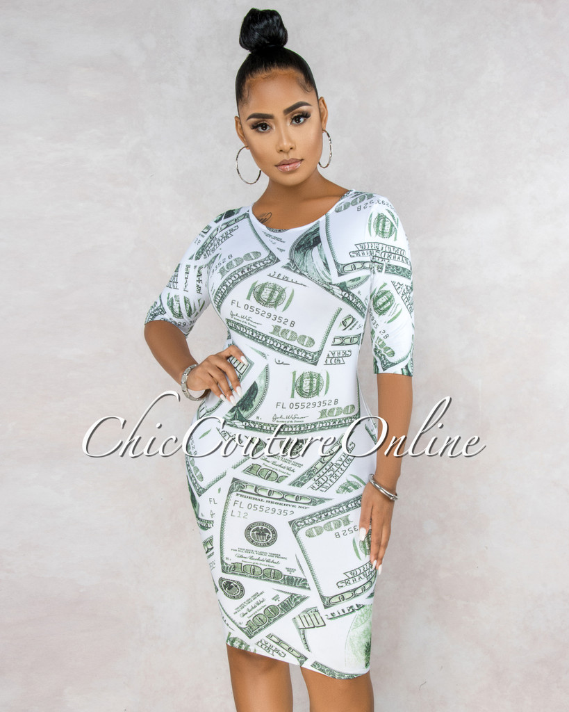 Franklin White Money Print Body-Con Dress