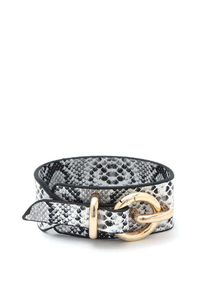 Lanna Hoop Buckle Snake Print Leather Bracelet