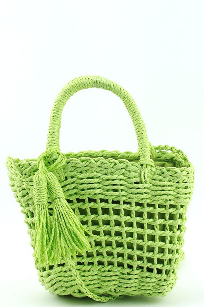 Mattie Green Straw Woven BASKET CROSSBODY BAG