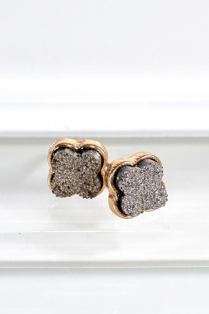 Stylla HEMATITE Clover Druzy Post Earrings
