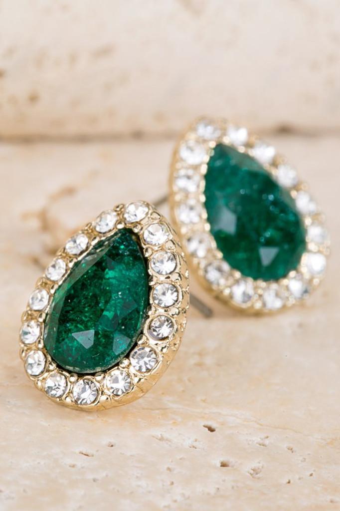 Rinna Emerald Green Stone Teardrop Pavé Post Earrings
