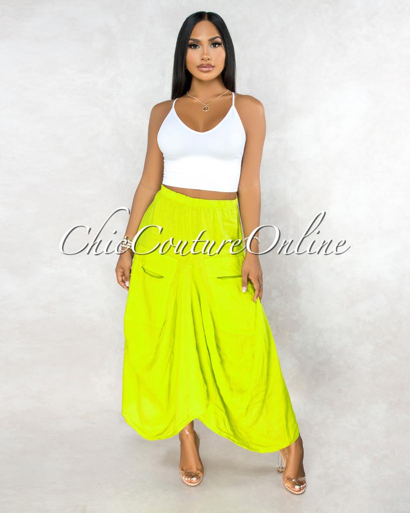 Francelli Key Lime Cargo Hi-Lo LINEN Skirt