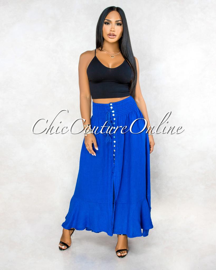 Torres Royal Blue Buttons Slit Maxi LINEN Skirt