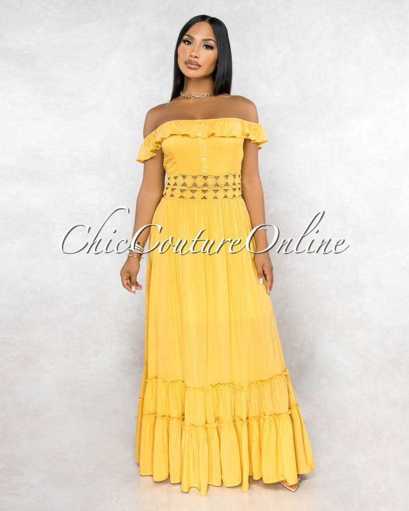 Tesia Mustard Yellow Crochet Waistband Maxi Dress
