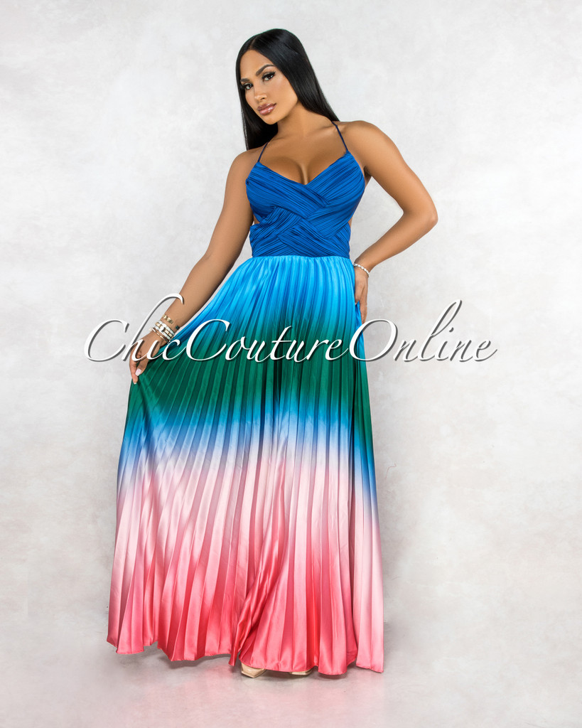 Tauren Navy Blue Drapped Green Pink Ombre Pleated Maxi Dress