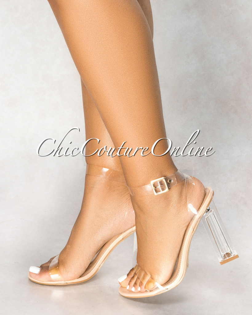 Maria Nude Sole Ankle Strap Clear High Heels