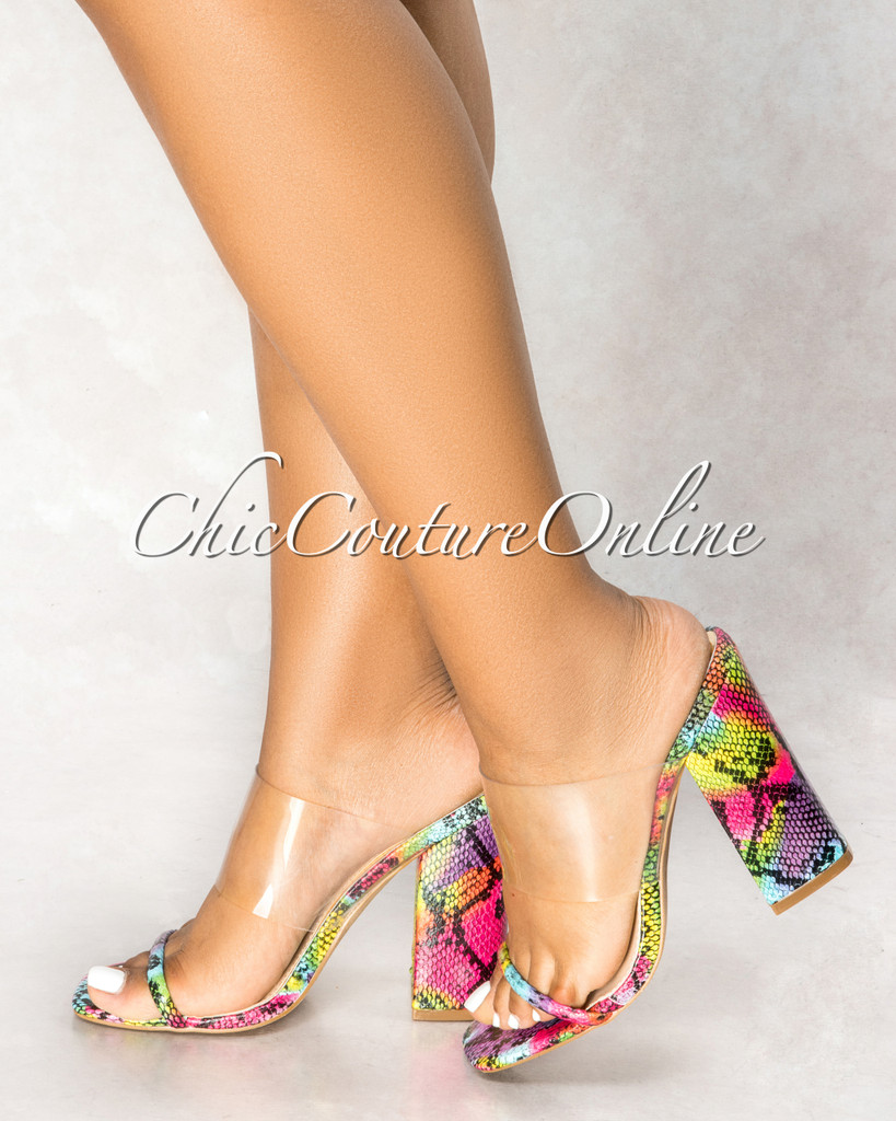 Britney Multi-Color Snake Sole Double Upper Clear Heels