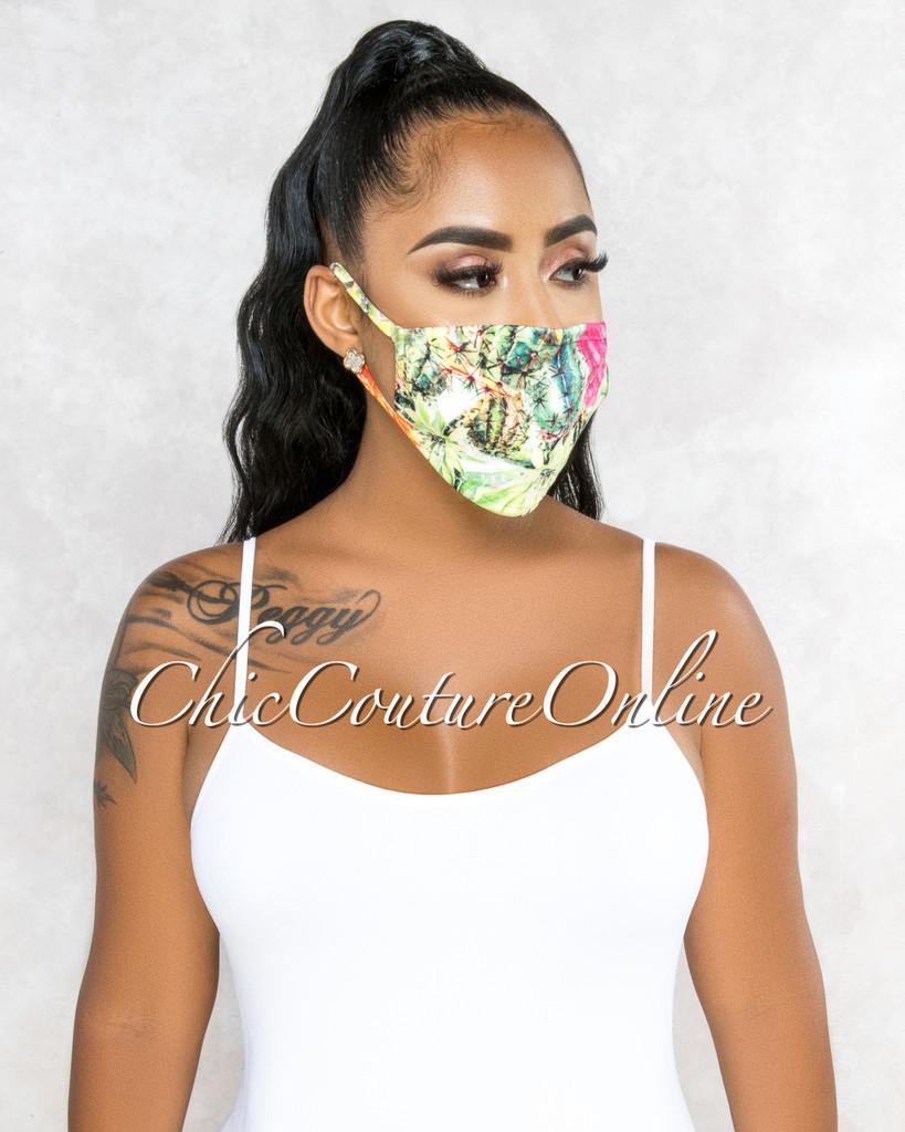 Lenora White Green Cactus Leaf Print Fashion Mask