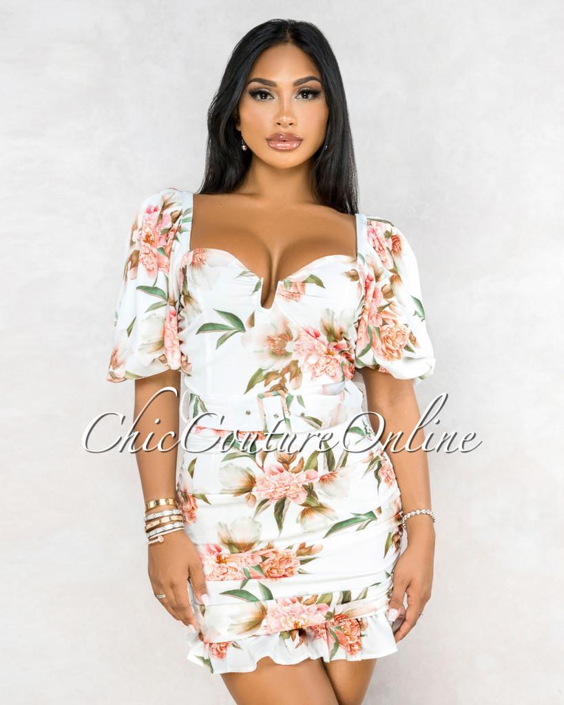 Liddy Ivory Salmon Floral Print Draped Ruffle Matching Belt Dress