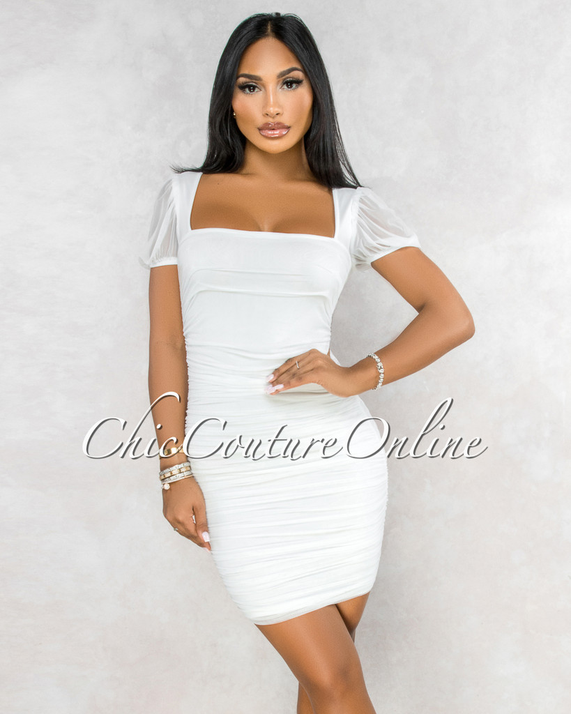 Katrina Off-White Mesh Square Neckline Ruched Midi Dress