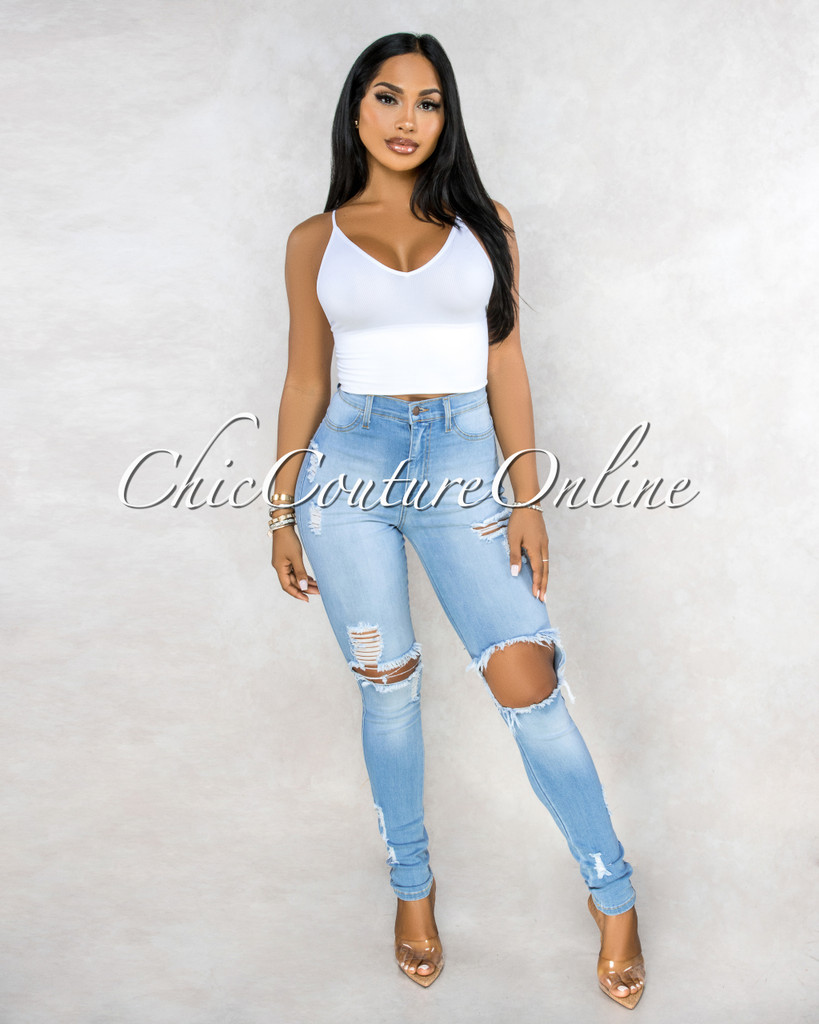 Sannie Light Denim Destroyed Denim Mid Waist Jeans