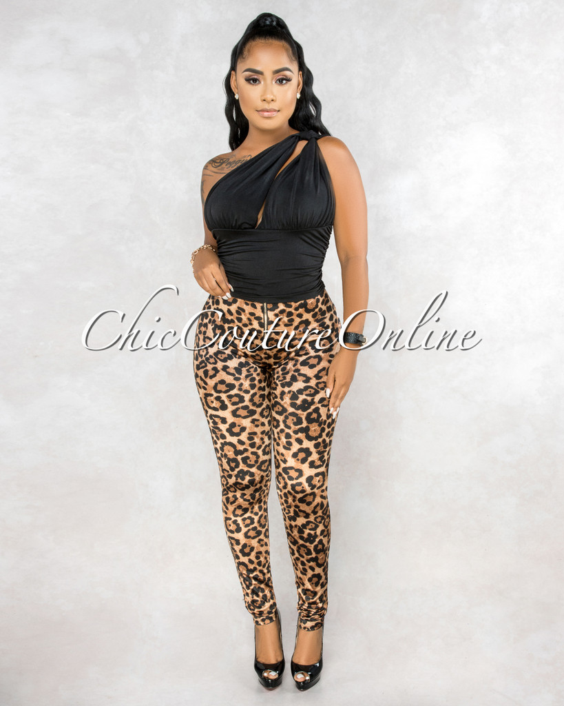 Arnolda Leopard Print High Waist Front Zipper Silky Leggings