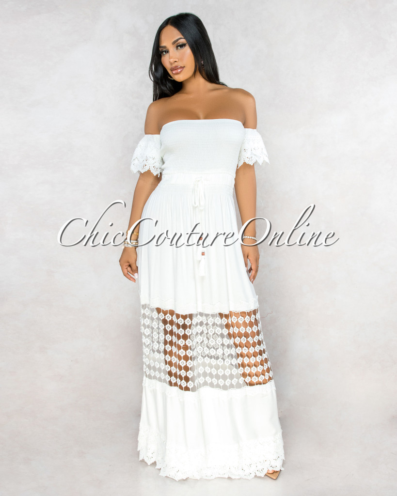 April Off-White Crochet Ruffle Sleeves Maxi Dress