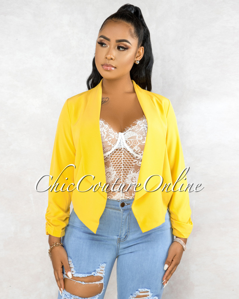 Pomona Mustard Yellow Long Sleeves Jacket