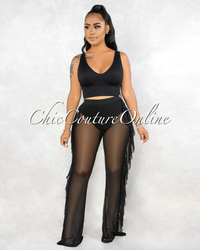 Jerusha Black Mesh Sheer Ruffle Sides Cover-Up Pants