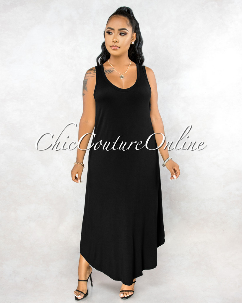 Adonia Black Body-Con Tank Maxi Dress
