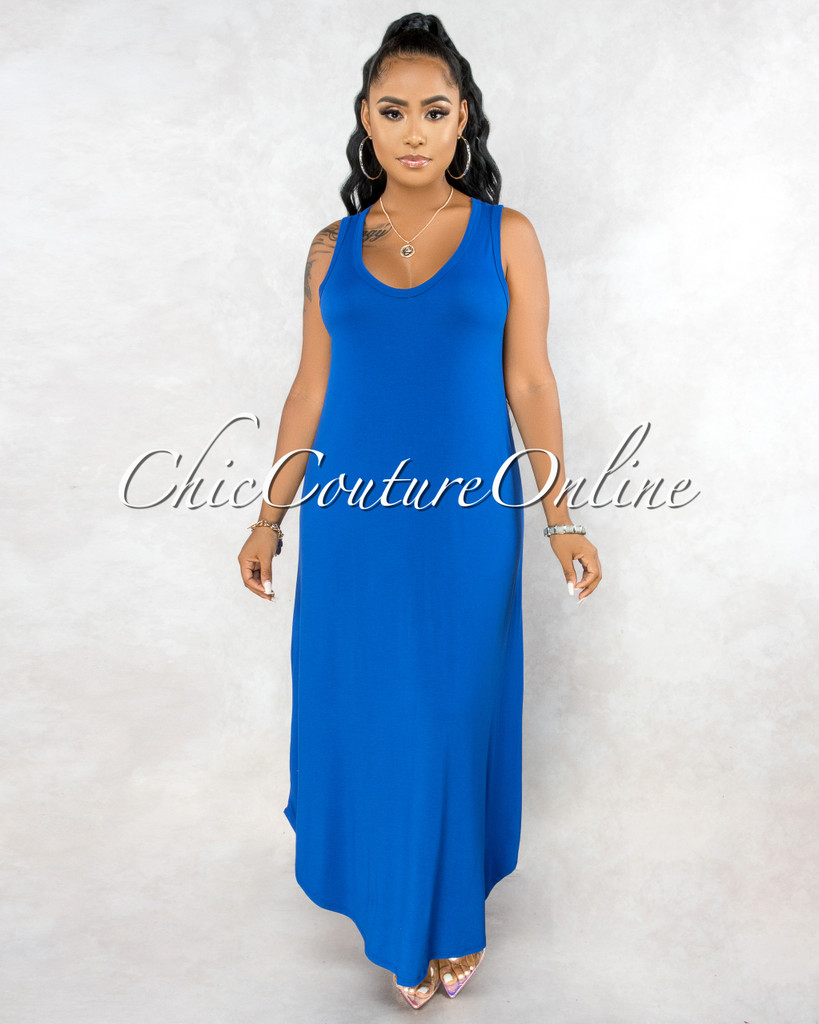 Adonia Royal Blue Body-Con Tank Maxi Dress