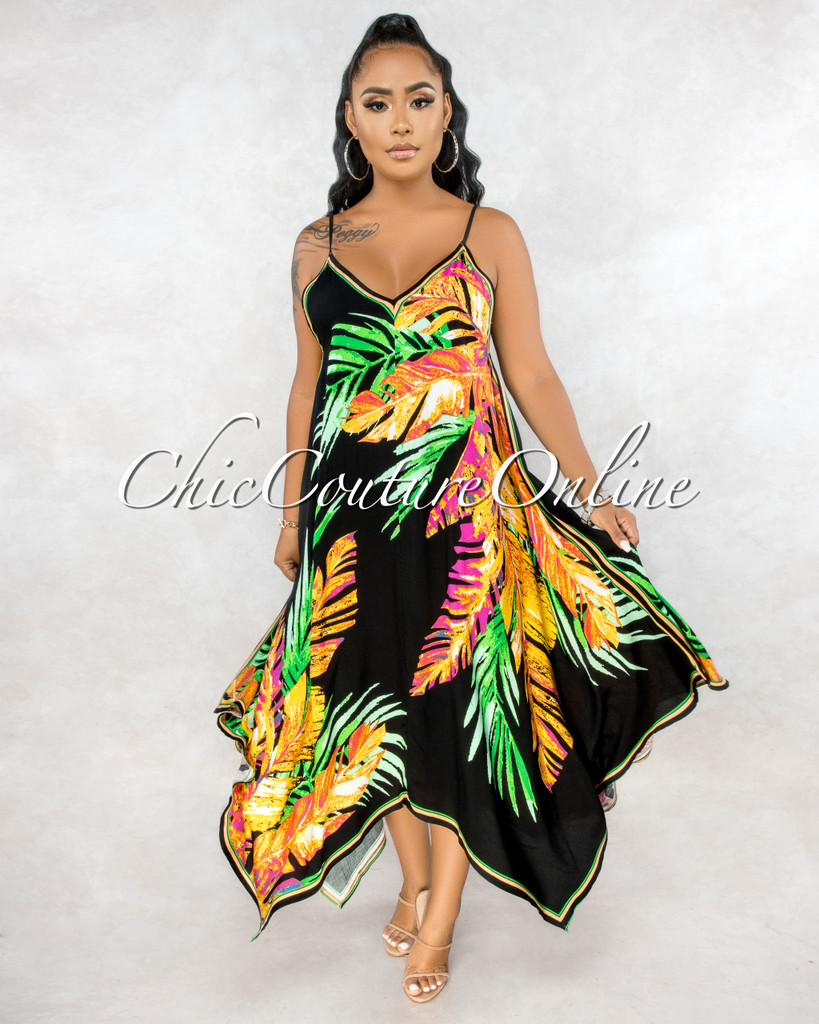 Esmena Black Pink Green Leaf Print Hi Lo Maxi Dress