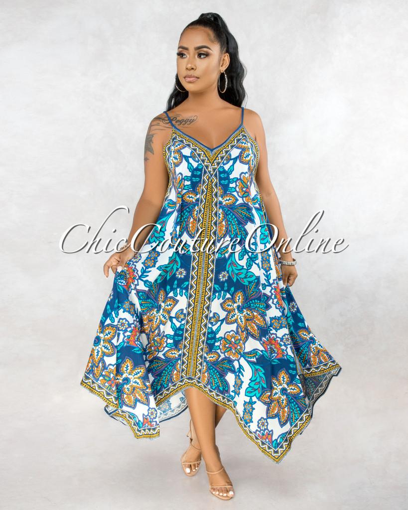 Casilda White Blue Floral Print Hi Lo Maxi Dress