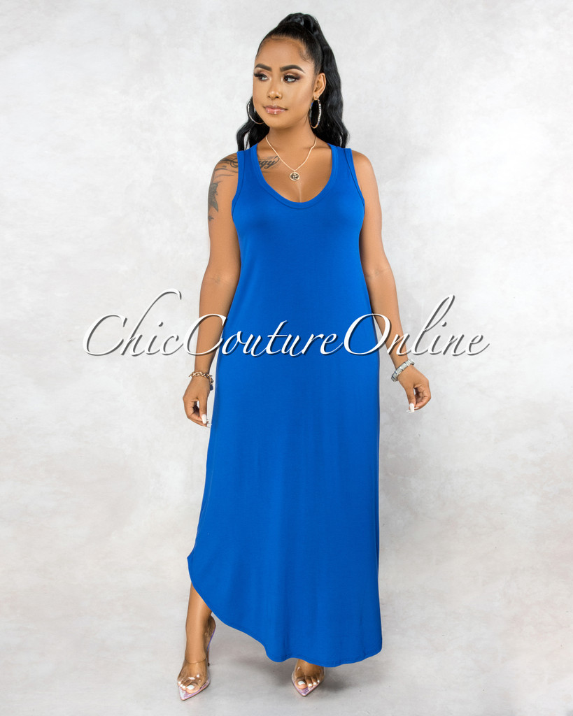 Adonia Royal Blue Body-Con Tank CURVACEOUS Maxi Dress