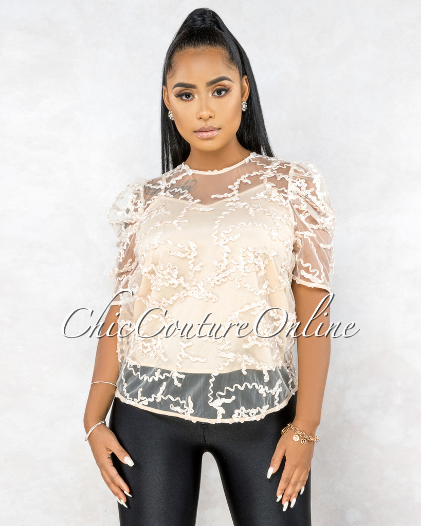 Deora Nude Illusion Mesh Embroidery Puffy Sleeves Top
