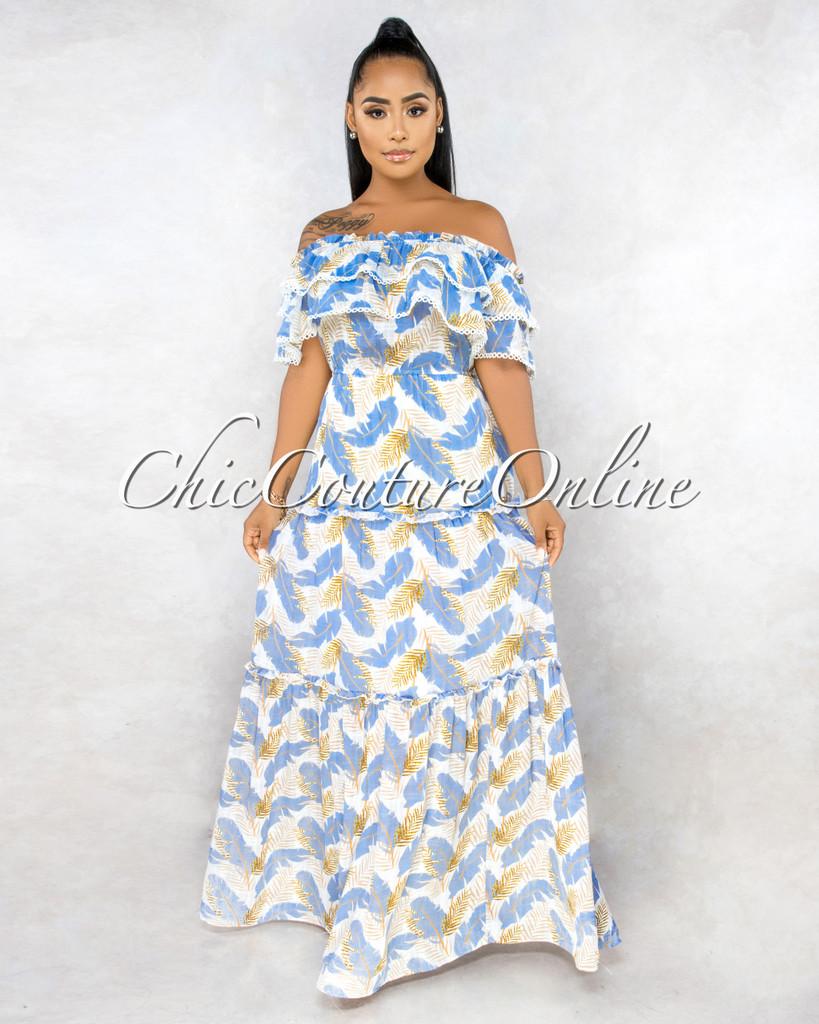 Vadis Ivory Periwinkle Blue Leaf Print Ruffle Maxi Dress