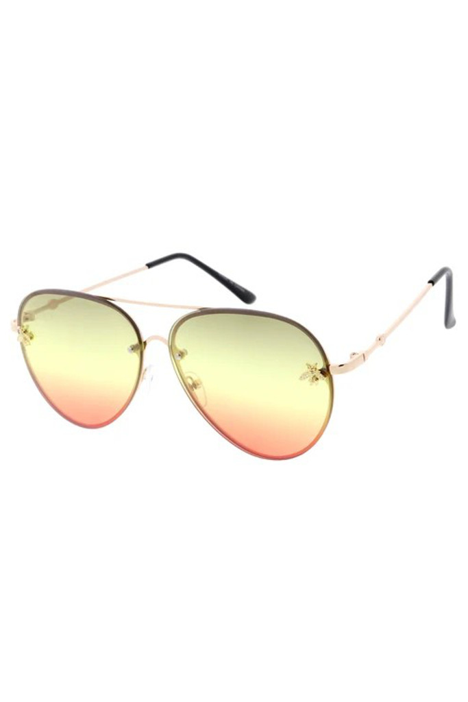 Suri Olive/Red Gradient Bee Sunglasses