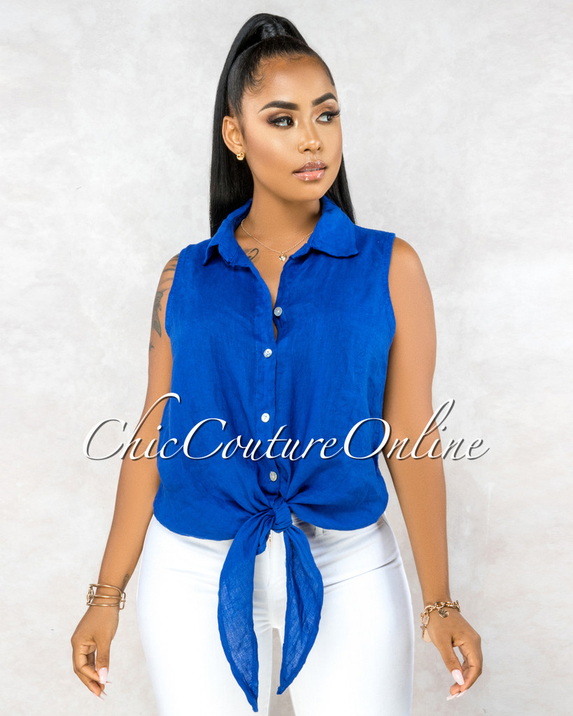 Massimo Royal Blue Front Tie Sleeveless LINEN Top