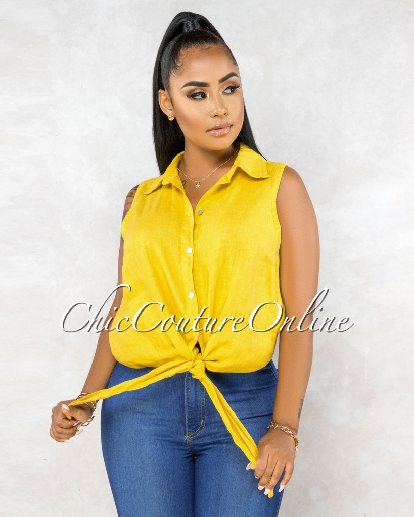 Massimo Mustard Yellow Front Tie Sleeveless LINEN Top