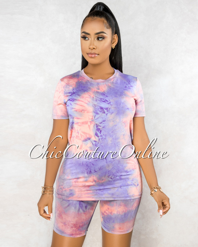 Omega Pink Lilac Tie-Dye Shorts Set
