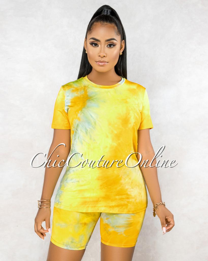 Omega Yellow Tie-Dye Shorts Set