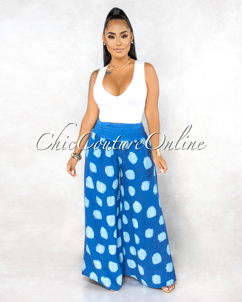 Albina Royal-Blue Polka Dots Wide Legs LINEN Pants